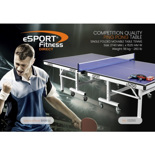 eS250 COMPETITION PREMIUM QUALITY PING PONG TABLE
