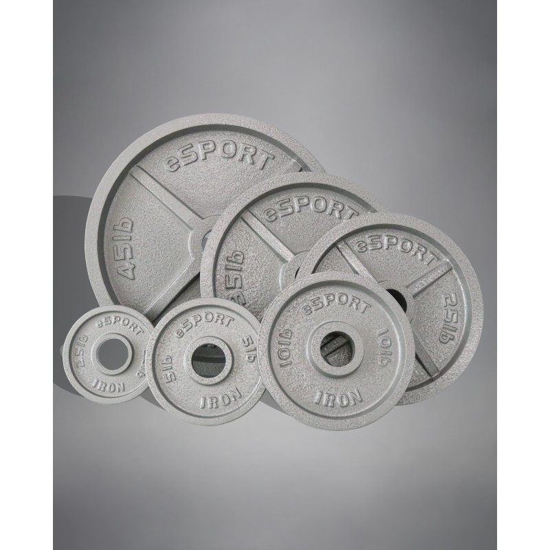 Pre Order eSPORT IRON  Machined Olympic Plates 250lb Kit no bar or clips included